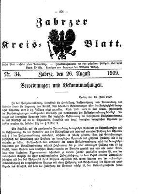 Zabrzer Kreis-Blatt vom 26.08.1909