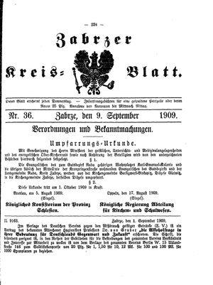 Zabrzer Kreis-Blatt vom 09.09.1909