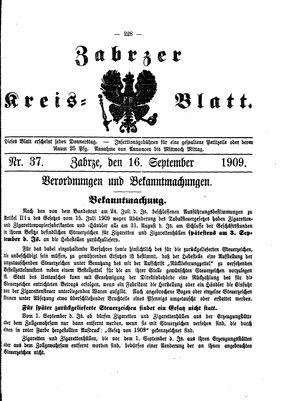 Zabrzer Kreis-Blatt vom 16.09.1909