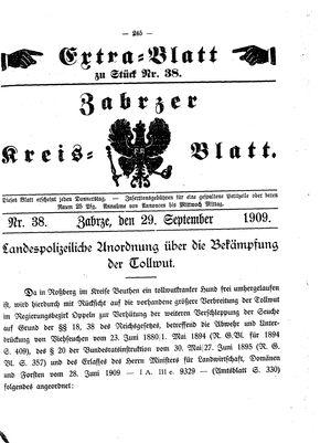 Zabrzer Kreis-Blatt vom 29.09.1909