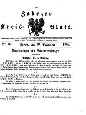 Zabrzer Kreis-Blatt vom 30.09.1909