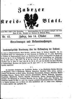 Zabrzer Kreis-Blatt vom 14.10.1909