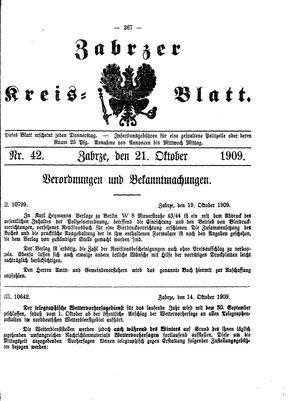 Zabrzer Kreis-Blatt vom 21.10.1909