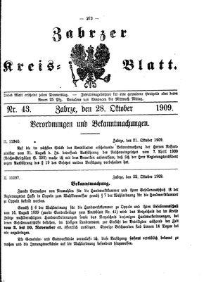 Zabrzer Kreis-Blatt vom 28.10.1909