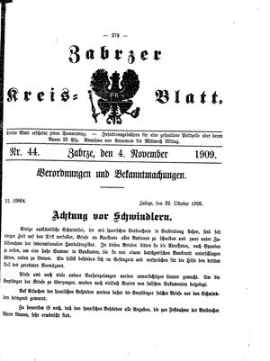 Zabrzer Kreis-Blatt vom 04.11.1909