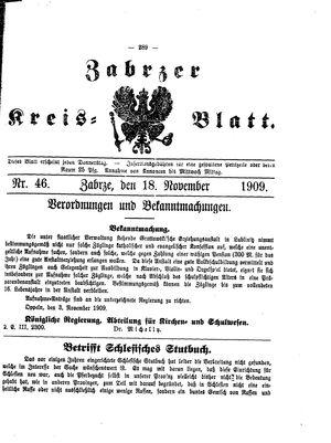 Zabrzer Kreis-Blatt vom 18.11.1909