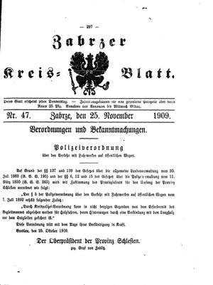 Zabrzer Kreis-Blatt vom 25.11.1909
