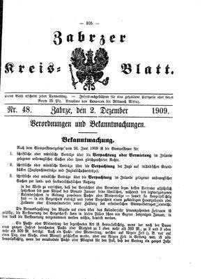 Zabrzer Kreis-Blatt vom 02.12.1909