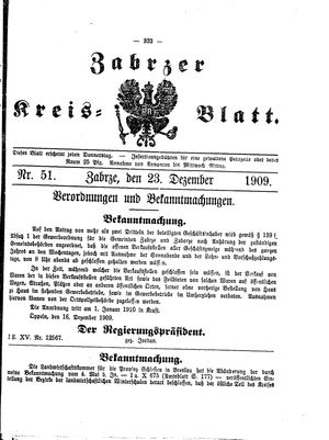 Zabrzer Kreis-Blatt vom 23.12.1909