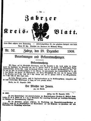 Zabrzer Kreis-Blatt vom 29.12.1909