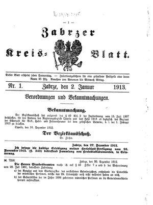 Zabrzer Kreis-Blatt vom 02.01.1913