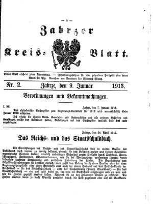 Zabrzer Kreis-Blatt vom 09.01.1913