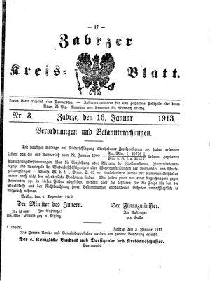 Zabrzer Kreis-Blatt on Jan 16, 1913