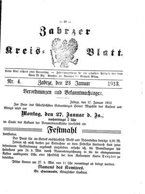 Zabrzer Kreis-Blatt vom 23.01.1913