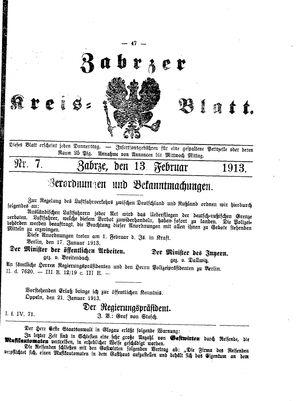 Zabrzer Kreis-Blatt vom 13.02.1913