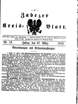 Zabrzer Kreis-Blatt vom 27.03.1913