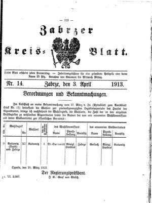 Zabrzer Kreis-Blatt vom 03.04.1913