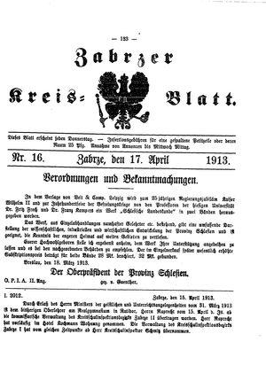 Zabrzer Kreis-Blatt vom 17.04.1913