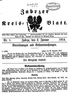 Zabrzer Kreis-Blatt vom 02.01.1914