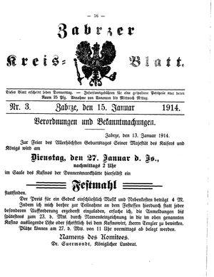 Zabrzer Kreis-Blatt vom 15.01.1914