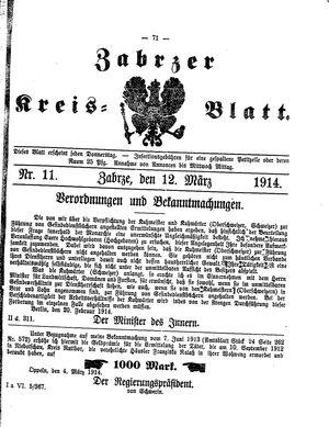 Zabrzer Kreis-Blatt vom 12.03.1914