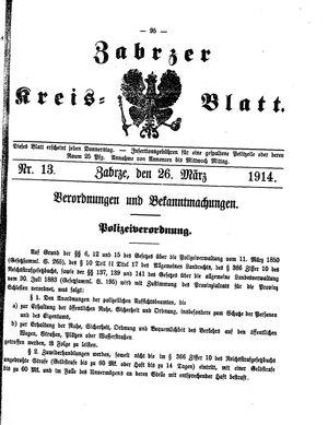 Zabrzer Kreis-Blatt vom 26.03.1914