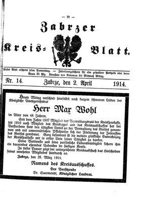 Zabrzer Kreis-Blatt vom 02.04.1914