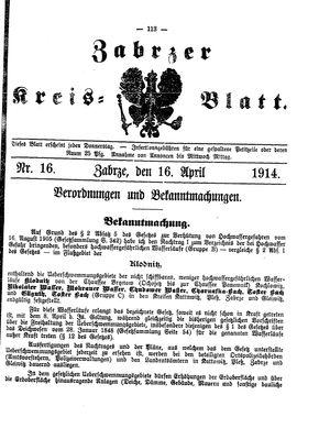 Zabrzer Kreis-Blatt vom 16.04.1914