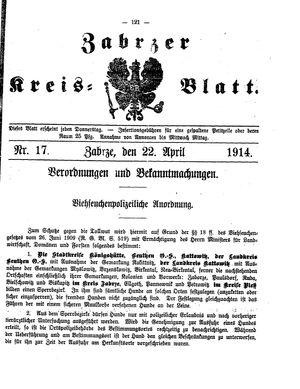 Zabrzer Kreis-Blatt vom 22.04.1914