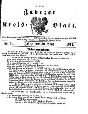 Zabrzer Kreis-Blatt on Apr 30, 1914