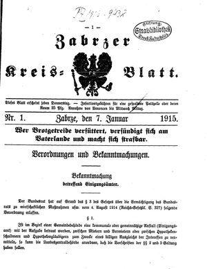 Zabrzer Kreis-Blatt vom 07.01.1915