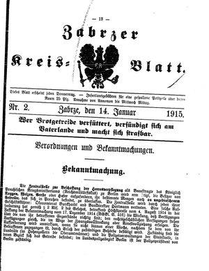 Zabrzer Kreis-Blatt vom 14.01.1915