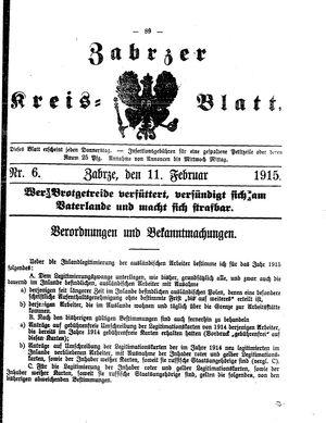 Zabrzer Kreis-Blatt vom 11.02.1915