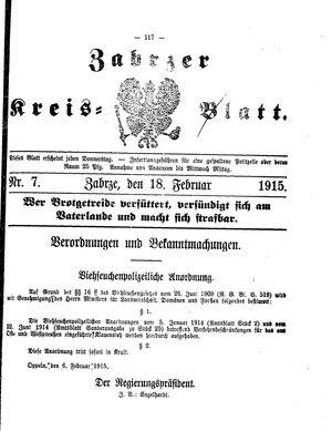Zabrzer Kreis-Blatt vom 18.02.1915