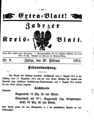 Zabrzer Kreis-Blatt vom 26.02.1915