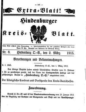 Zabrzer (Hindenburger) Kreisblatt vom 02.03.1915
