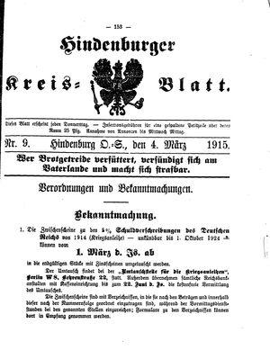 Zabrzer (Hindenburger) Kreisblatt vom 04.03.1915