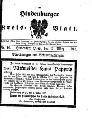 Zabrzer (Hindenburger) Kreisblatt on Mar 11, 1915