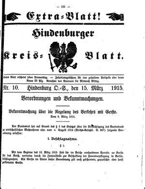 Zabrzer (Hindenburger) Kreisblatt vom 15.03.1915