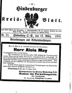 Zabrzer (Hindenburger) Kreisblatt vom 18.03.1915