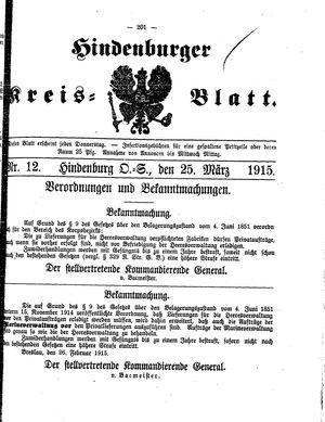 Zabrzer (Hindenburger) Kreisblatt vom 25.03.1915