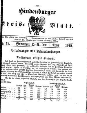 Zabrzer (Hindenburger) Kreisblatt vom 01.04.1915