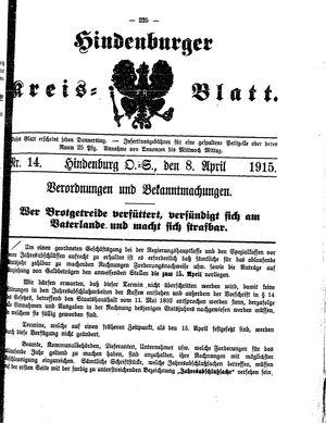 Zabrzer (Hindenburger) Kreisblatt vom 08.04.1915