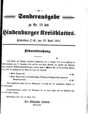 Zabrzer (Hindenburger) Kreisblatt vom 19.04.1915