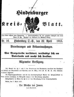 Zabrzer (Hindenburger) Kreisblatt vom 22.04.1915