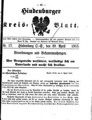 Zabrzer (Hindenburger) Kreisblatt vom 29.04.1915