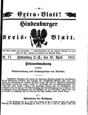 Zabrzer (Hindenburger) Kreisblatt vom 30.04.1915