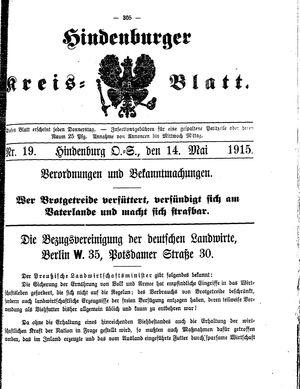 Zabrzer (Hindenburger) Kreisblatt vom 14.05.1915
