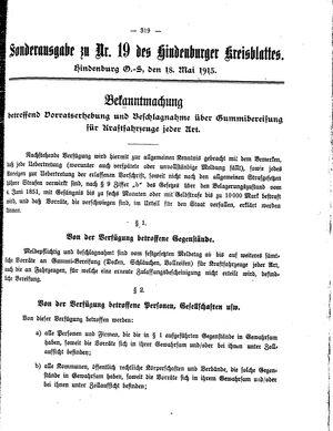 Zabrzer (Hindenburger) Kreisblatt vom 18.05.1915