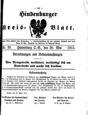 Zabrzer (Hindenburger) Kreisblatt vom 20.05.1915